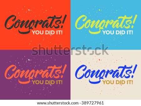 congrats calligraphy, text, set of cards