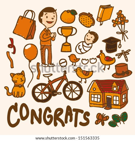 Congrats icon set cartoon, EPS10 vector format