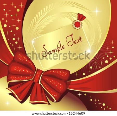 congratulation, vector illustration with bow - stock vector