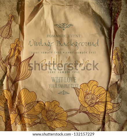 congratulation vintage vector  background with drawing flowers on crumpled paper - stock vector