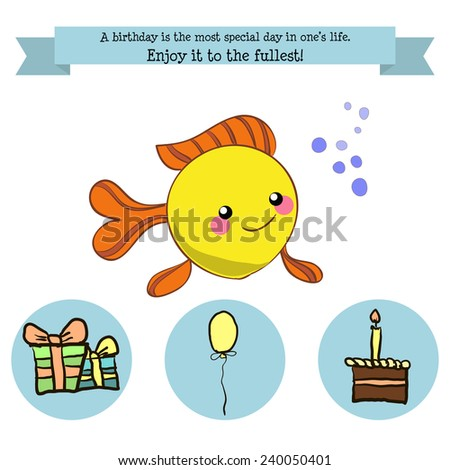 Congratulations birthday with a character, small fish a balloon, cake and gifts hand-drawing - stock vector