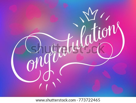 Congratulations card banner poster sign template stock vector congratulations card banner poster sign templated lettering hand drawn calligraphy font vector on blurred pronofoot35fo Image collections