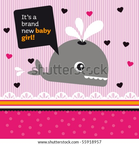 Congratulations card new born baby girl cover design in vector - stock vector