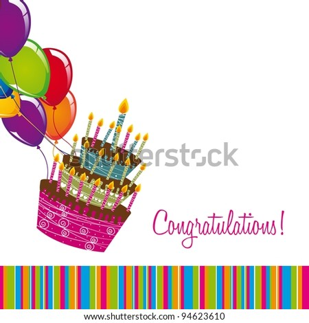 congratulations card with cake and balloons over white background. vector - stock vector