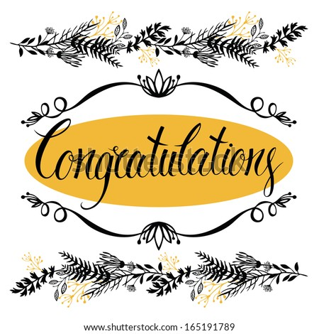 Congratulations card with forest herbs and calligraphy. Two colors - stock vector