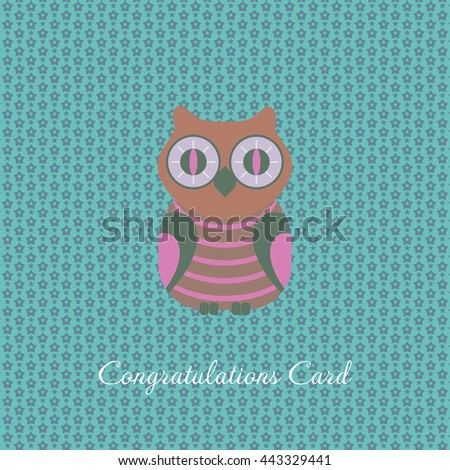 congratulations card with owl - stock vector