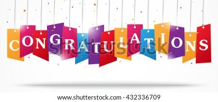 Congratulations design on label with confetti - stock vector