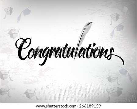 Congratulations graduation background with mortar board hats. - stock vector