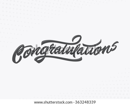 Congratulations Handlettering vector illustration for holiday or another event