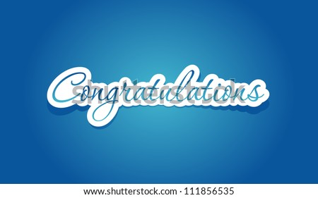 Congratulations lettering on blue background. Vector illustration. - stock vector