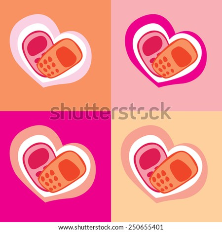 Congratulations on the phone. Valentine's Day. heart - stock vector