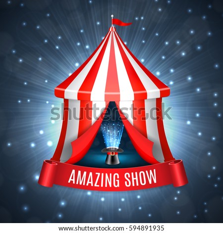 Conjurer hat with magical glow inside circus tent. Circus concept. EPS10 vector & Inside Circus Tent Stock Images Royalty-Free Images u0026 Vectors ...