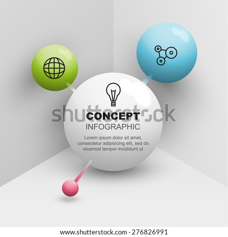 Connect balls 3d vector diagram of medicine and technology - stock vector