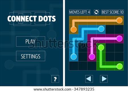 Connect Dots Mobile Game Original Concept - stock vector