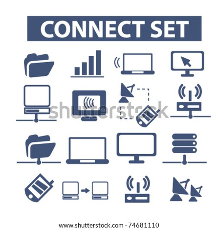 connect identity set icons, vector - stock vector