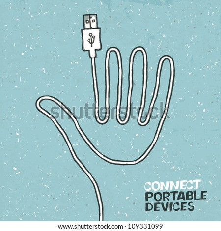 Connect portable devices concept illustration. Vector, EPS10 - stock vector