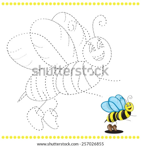 Connect the dots and coloring page - bee - stock vector