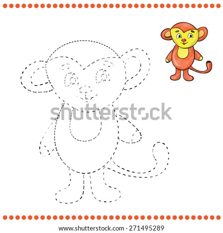 Connect the dots and coloring page - monkey - stock vector