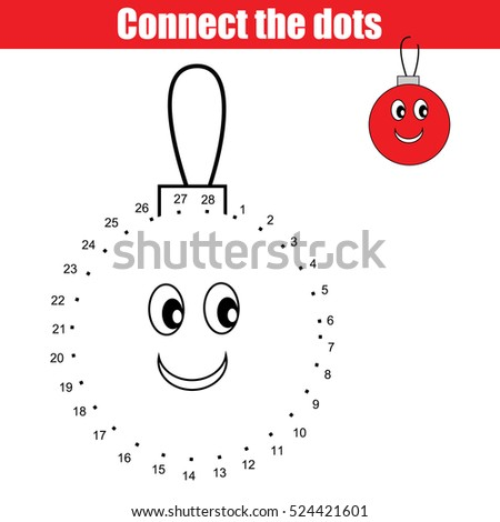Connect Dots Educational Drawing Children Game Stock Vector ...