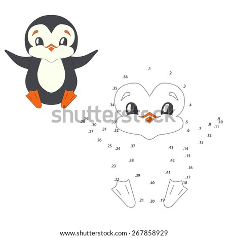 Connect the dots game penguin vector illustration