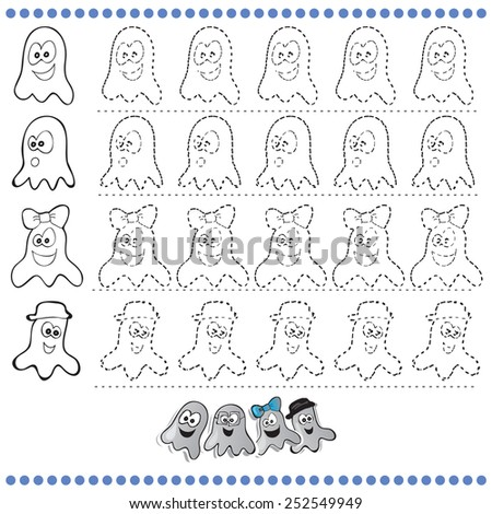 Connect the dots number of images - exercise for kids Dot-to-dot - Halloween  - stock vector
