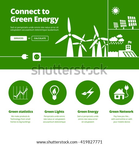 Connect to green energy illustration and services icons for one page website design - stock vector