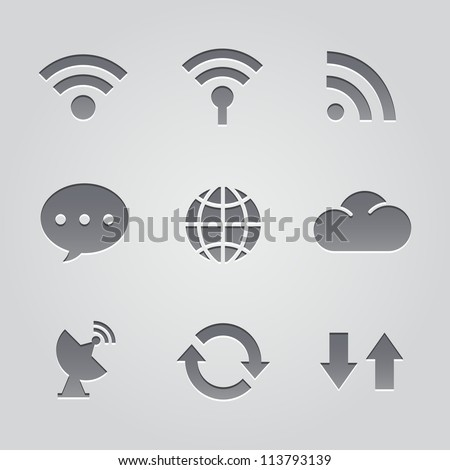 connect to the Internet icons : deboss style - stock vector