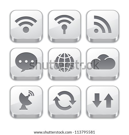 connect to the Internet with silver button icons - stock vector