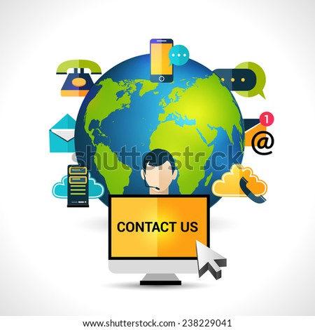 Connect us mobile internet connection global  computer network  voice bubbles icons composition concept poster abstract vector illustration - stock vector