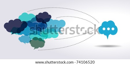 connected blue cloud speech bubbles - stock vector