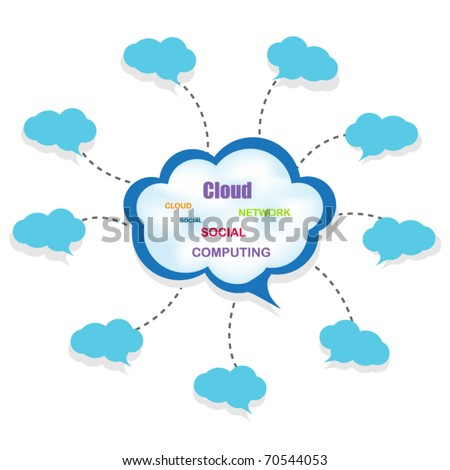 Connected Blue Clouds - stock vector