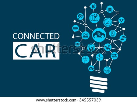 Connected car and autonomous driving concept. New technology for disruptive business models - stock vector