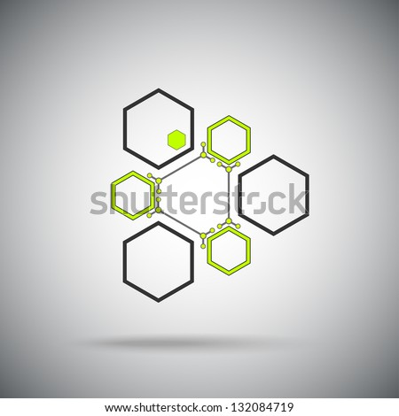 Connected cell.The ternary compound. Vector Graphics - stock vector