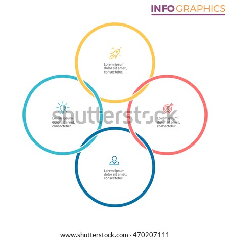 Connected circles infographics chart diagram 4 stock vector 2018 connected circles for infographics chart diagram with 4 steps options parts ccuart Choice Image