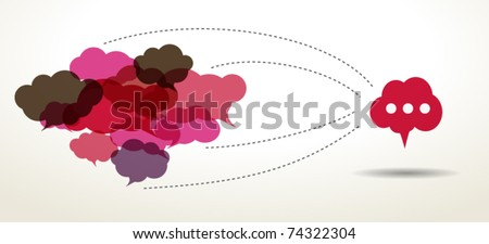 connected cloud speech bubbles - stock vector