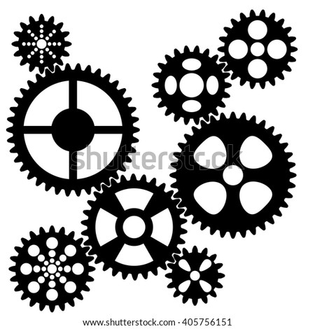 Connected gears. - stock vector