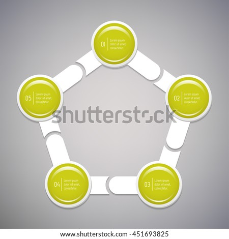 Connected isolated pentagonal infographic diagram template with 5 glossy parts. EPS10 concept of arrow sequence banner. Paper progress steps for tutorial with five options.