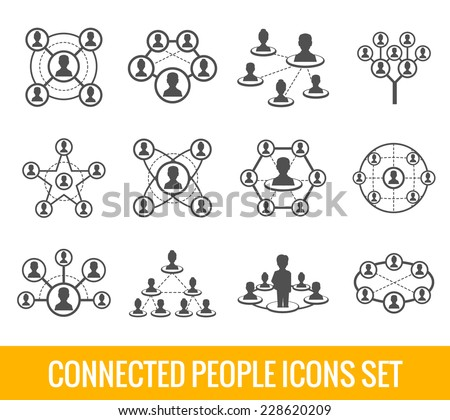 Connected people social network human hierarchy black icons set isolated vector illustration - stock vector