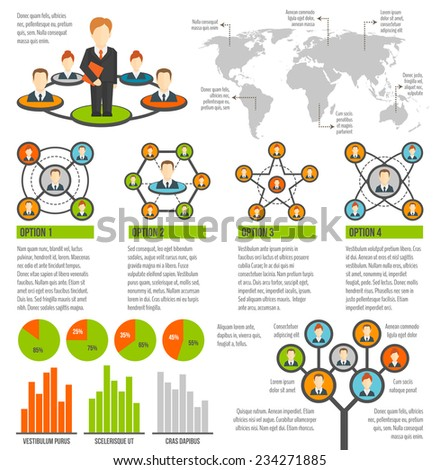 Connected people social network infographics set with charts and world map vector illustration - stock vector
