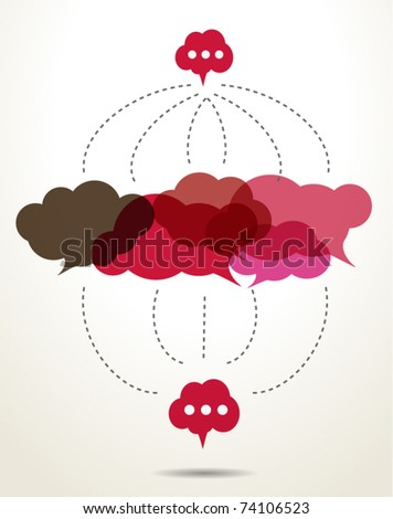 connected red cloud speech bubbles - stock vector
