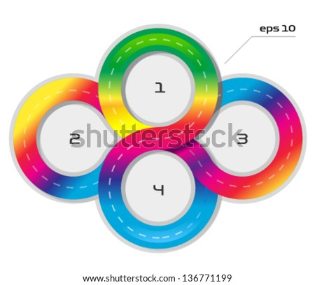 Connected vector circles - stock vector