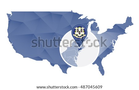 Connecticut State Magnified On United States Map Abstract Usa Map In Blue Color Vector