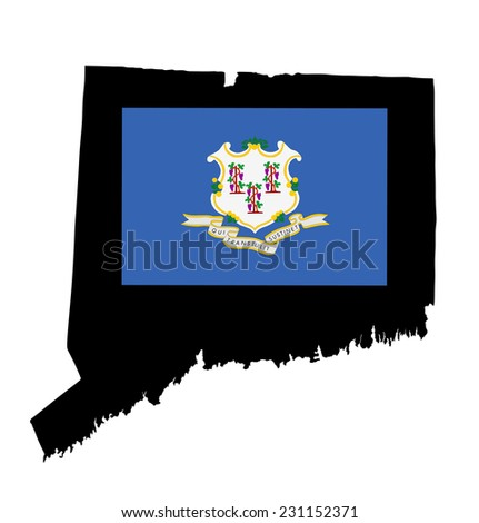 Connecticut vector map and flag isolated on white background. High detailed silhouette illustration.  Original Connnecticut state flag isolated vector in official colors and proportion correctly. - stock vector