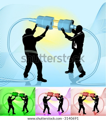 Connecting Conceptual piece. Business people making a connection. No meshes used. Main image on separate layers for easy editing. Also includes several different color versions - stock vector