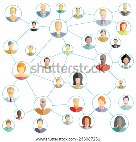 connecting people, social media network - stock vector