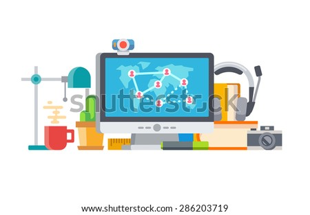 Connecting people social network and Objects on table concept flat vector illustration - stock vector