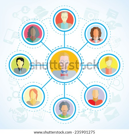 connecting people, social network concept - stock vector
