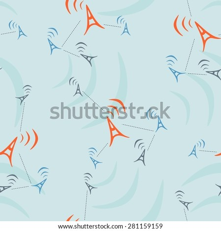 Connecting people. Social network concept. Vector broadcast tower with transmission waves. Antenna. - stock vector