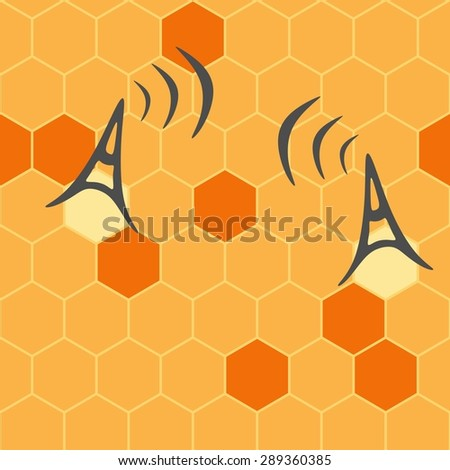 Connecting people. Social network concept. Vector broadcast tower with transmission waves. Antenna. Seamless pattern of honeycomb - stock vector