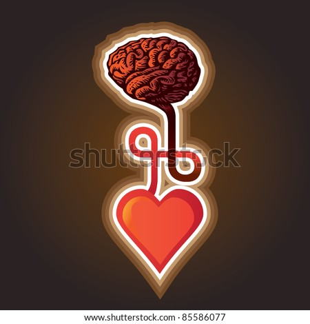 connection between heart and brain - illustration - stock vector